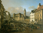 名画絵画のプリント作品販売 ベルナルド・ベッロット Bernardo Bellotto (Canaletto) and WorkshopのDie Freyung in Wien, Ansicht von Sudosten