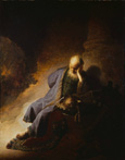 名画絵画のプリント作品販売 レンブラント・ファン・レイン Rembrandt Harmenszoon van RijnのJeremiah, lamenting the destruction of Jerusalem
