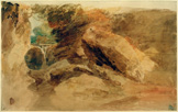 名画絵画のプリント作品販売 ジョゼフ・マロード・ウィリアム・ターナー Joseph Mallord William TurnerのRocks under a Cliff, with a Stream Falling into a Narrow Channel , 1798