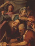 名画絵画のプリント作品販売 レンブラント・ファン・レイン Rembrandt Harmenszoon van RijnのJesus drives out the Money-changers from the Templ