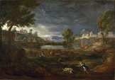 名画絵画のプリント作品販売 ニコラ・プッサン Nicolas PoussinのLandscape during a Thunderstorm with Pyramus and Thisbe. 1651
