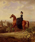 名画絵画のプリント作品販売 アルブレヒト・アダム Albrecht AdamのCountess Caroline Waldbott von Bassenheim on horseback in front of Castle Leutstetten.