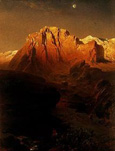 名画絵画のプリント作品販売 Fritz BambergerのEvening sun creating a glow in the Sierra Nevada. 1863