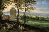 名画絵画のプリント作品販売 ヤン・ブリューゲル(父) Jan Brueghel de OudeのArchduke Albrecht and Isabella in front of the castle Mariemont. 1611