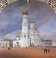 名画絵画のプリント作品販売 エドゥアルド・ゲルトナー Johann Philipp Eduard GaertnerのPanorama of the Kremlin, 1839. Centre panel of the triptych