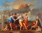 名画絵画のプリント作品販売 ニコラ・プッサン Nicolas PoussinのIl Ballo della Vita humana (A Dance to the Music of Time). 1638-1640 for Clemens IX