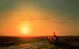 名画絵画のプリント作品販売 イヴァン・アイヴァゾフスキー Ivan Konstantinovich AivazovskyのPeasants Returning From The Fields At Sunset. 187.