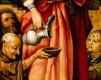 名画絵画のプリント作品販売 ハンス・ホルバイン(父) Hans Holbein der AltereのSebastian-altar. Detail from the right panel: three beggars and the hand of St. Elizabeth