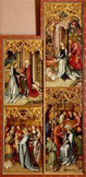 名画絵画のプリント作品販売 ハンス・ホルバイン(父) Hans Holbein der AltereのKaisheimer Altarpiece (Right inner panel): Assumption day, Nativity, Presentation in the temple, the death of the virgin.