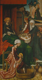 名画絵画のプリント作品販売 ハンス・ホルバイン(父) Hans Holbein der AltereのThe Birth of the Virgin. Weingartner Altarpiece, Dome, Augsburg.