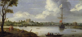 名画絵画のプリント作品販売 Adriaen van StalbemtのView from North-East onto Greenwich-Palace, with an anchored warship.