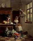 名画絵画のプリント作品販売 David Emile Joseph de NoterのA Maid in the Kitchen. 1861.