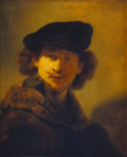 名画絵画のプリント作品販売 レンブラント・ファン・レイン Rembrandt Harmenszoon van RijnのSelf portrait with velvet cap and a cloak with fur collar. 1634.