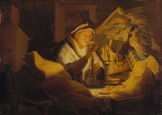 名画絵画のプリント作品販売 レンブラント・ファン・レイン Rembrandt Harmenszoon van RijnのThe Parable of the rich man (The money changer). 1627.