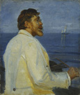 名画絵画のプリント作品販売 ミカエル・アンカー Michael Peter AncherのPortrait of the Artist Peder Severin Kroyer, half-length. 1907 Dimensions: 49 x 41.5 cm Medium: Oil/Canvas Location: Christie's Images Ltd