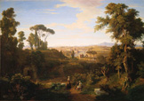 名画絵画のプリント作品販売 Thomas DessoulavyのA View Of Rome And The Campagna. 1844