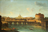 名画絵画のプリント作品販売 Antonio JoliのCastel Santangelo And The Ponte Santangelo, Rome, With St. Peters And The Vatican, S. Spirito In Sassia And The Janiculum Beyond, And Boats On The Tiber River.