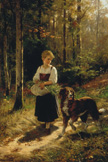 名画絵画のプリント作品販売 Hubert SalentinのThe walk in the forest. 1883