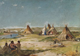 名画絵画のプリント作品販売 Frank BuchserのTent camp of Indians, Wyoming.