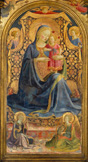 名画絵画のプリント作品販売 フラ・アンジェリコ Fra' Angelico (Beato Angelico)のVirgin and Child enthroned surrounded by angels.