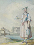 名画絵画のプリント作品販売 カスパー・ヴォルフ Caspar WolfのYoung Woman in the Traditional Clothing (Tracht) of Zug.