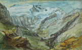 名画絵画のプリント作品販売 カスパー・ヴォルフ Caspar WolfのThe upper Lauenen Valler with Geltenhorn and Gelten Glacier.