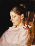 名画絵画のプリント作品販売 ミカエル・アンカー Michael Peter AncherのPortrait of Anna Ancher, the Artist's Wife.