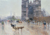 名画絵画のプリント作品販売 Paolo SalaのRainy day, Westminster, London.