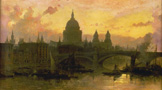 名画絵画のプリント作品販売 デイビット・ロバーツ David RobertsのEvening upon London, View of the Thames onto St.Pauls Cathedral. 1863