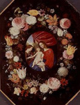 名画絵画のプリント作品販売 Adriaen van StalbemtのMadonna with floral wreath. (The flowers of Jan Brueghel the Younger)