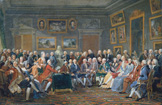 名画絵画のプリント作品販売 Anicet Charles Gabriel LemonnierのReading of a tragedy by Voltaire in the parlour of Mme. Geoffrin. 1814