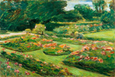 名画絵画のプリント作品販売 マックス・リーバーマン Max LiebermannのFlowering Garden Terrace of the Liebermann-Villa at the shores of Lake Wannsee. 1915