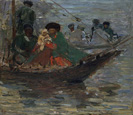 名画絵画のプリント作品販売 Robert SterlのKalmyk-boat on the Volga River. 1920
