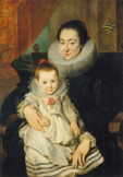 名画絵画のプリント作品販売 アンソニー・ヴァン・ダイク Anthony van DyckのPortrait of Marie Clarisse, wife of Jan Woverius, with her child.
