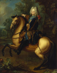 名画絵画のプリント作品販売 ルイ・ド・シルヴェストル Louis Silvestre the YoungerのKing August III. of Poland as prince on horse. About 1718.