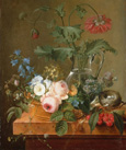 名画絵画のプリント作品販売 ピエール=ジョゼフ・ルドゥーテ Pierre-Joseph RedouteのRoses, anemones in a glass vase, other flowers, cherries and a birdnest.