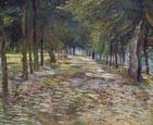 名画絵画のプリント作品販売 フィンセント・ファン・ゴッホ Vincent Willem van GoghのTree-lined street in the Parc de Voyer-d`Argenson in Asnieres 1887