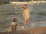 名画絵画のプリント作品販売 ホアキン・ソローリャ Joaquin Sorolla y BastidaのBathing children at the beach of Valencia. 1910