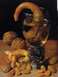 名画絵画のプリント作品販売 ゲオルク・フレーゲル Georg FlegelのStill-life with wine glass, pretzel, nuts and almonds. 1637