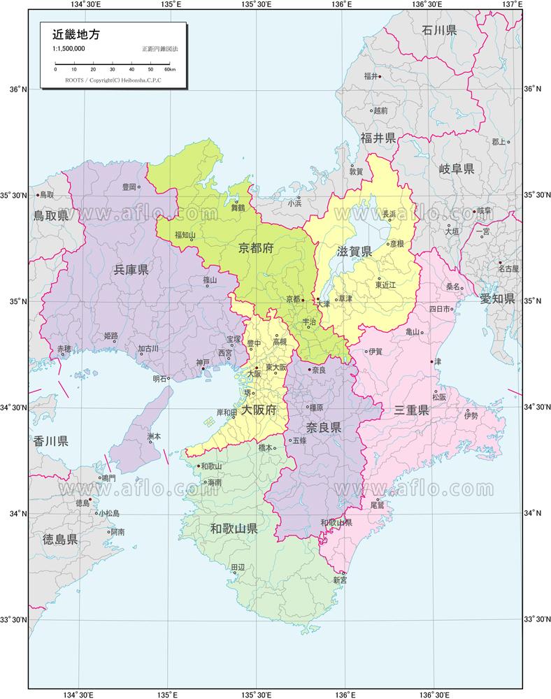 近畿地方 行政区分図 | ベクター地図素材のダウンロード販売 | アフロ ...
