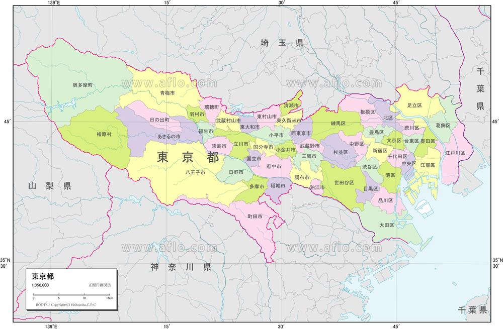 地図素材:東京都 行政区分図 [82979]   ベクトル地図素材 加工編集 ...