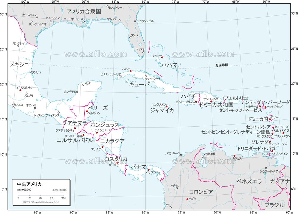 地図素材:中央アメリカ 白地図 [82455]   ベクトル地図素材 加工編集 ...