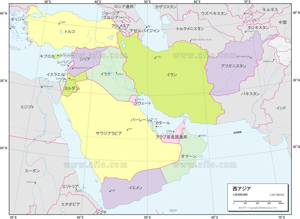 地図素材:西アジア 行政区分図 [82676] | ベクトル地図素材 加工編集 ...