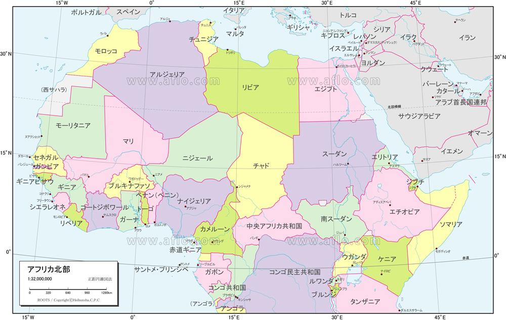 地図素材:アフリカ北部 行政区分...