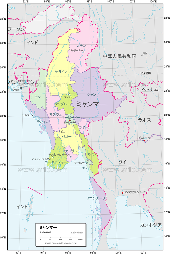 地図素材 ミャンマー 行政区分図 82326 ベクトル地図素材