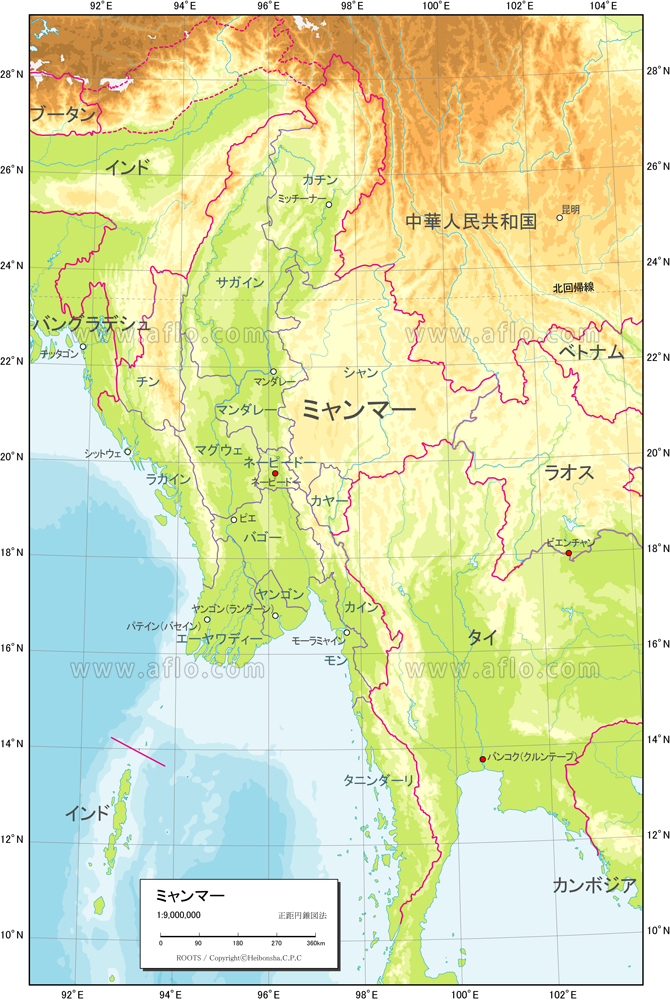 地図素材 ミャンマー 地勢図 82402 ベクトル地図素材 加工