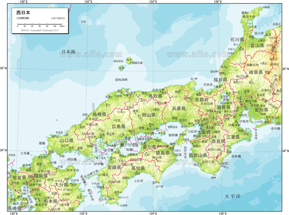 地図素材:西日本 自然図 [83064] | ベクトル地図素材 加工編集できるAI ...