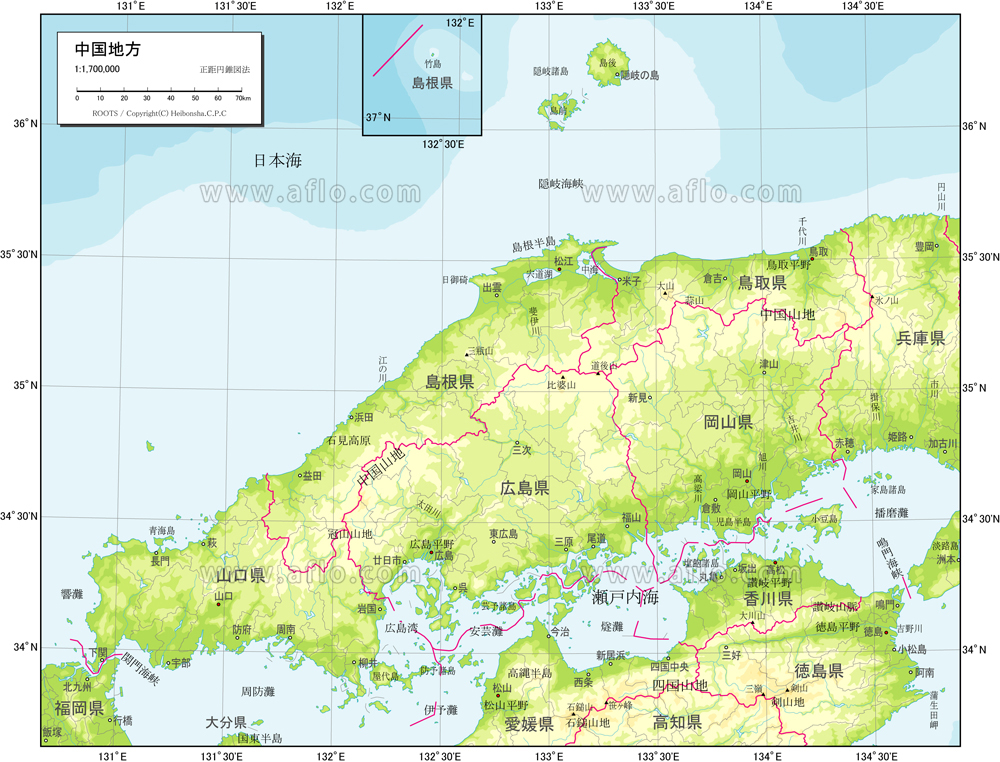 地図素材:中国地方 自然図 [8304...