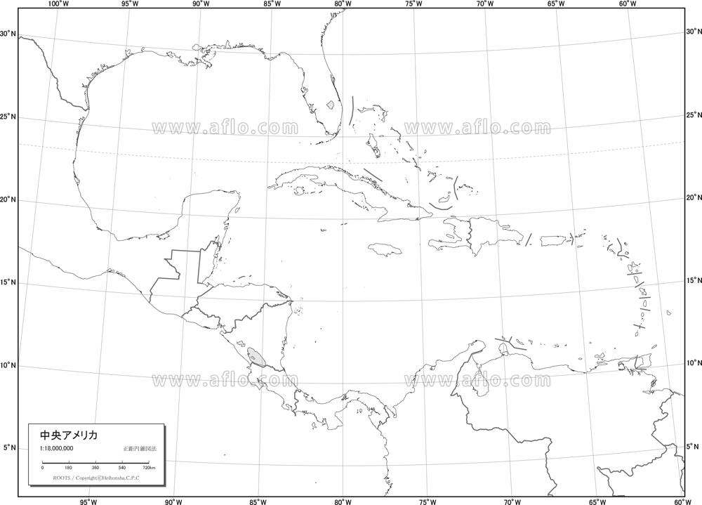 地図素材:中央アメリカ 白地図 [80455]   ベクトル地図素材 加工編集 ...