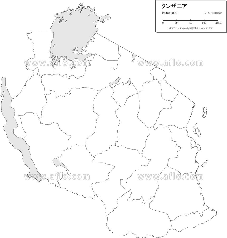 地図素材:タンザニア 白地図 [80...